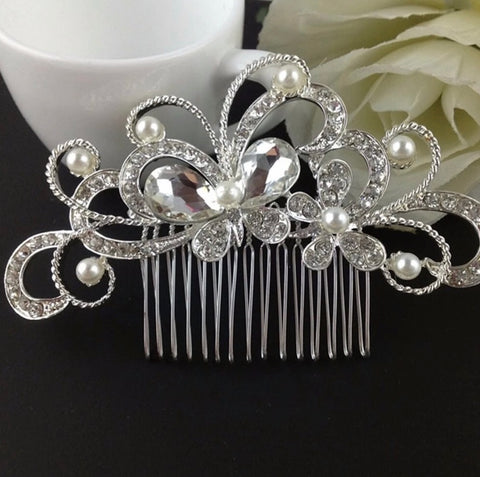 Rhinestone & Pearl Bridal Comb For Women