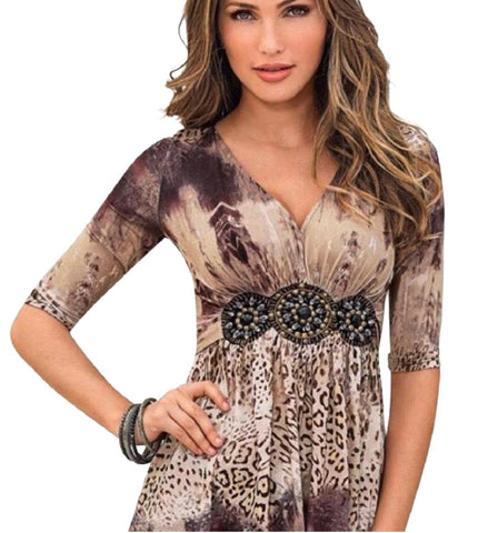 Jeweled Animal Print Top