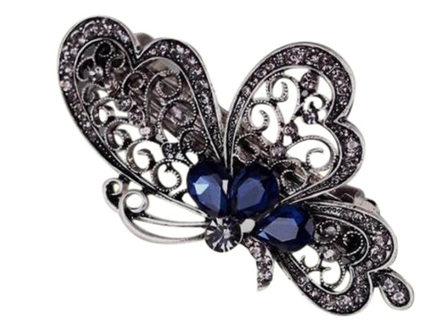 2 Piece Antique Girls Blue Stone Barrette