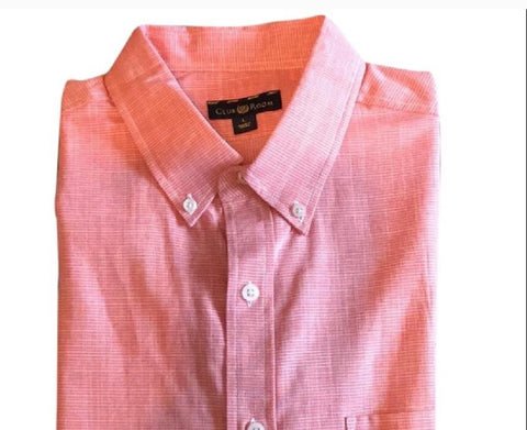 Men's Coral Dress Up Dress Down Shirt Men