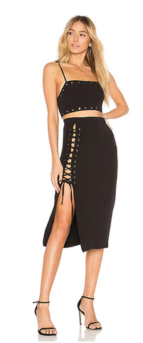 Lace-up side with tie closure skirt
