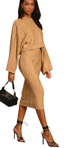 Camel Two-Piece Cable Knit Sweater Dress