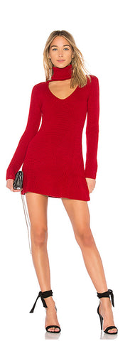 Red Open Chest Turtle Neck Wool Mini Dress