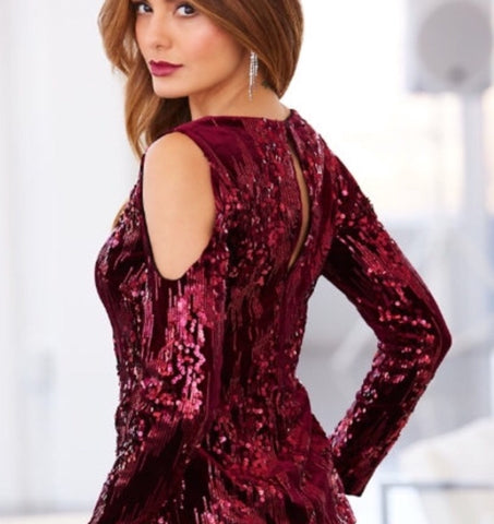 SEQUIN VELVET COLD-SHOULDER TOP