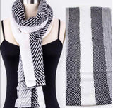 Black And White  Light Weight Shawl Scarf