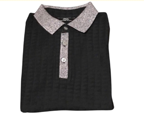 Men's Deep Black Dress Up/ Dress Down Polo Shirt