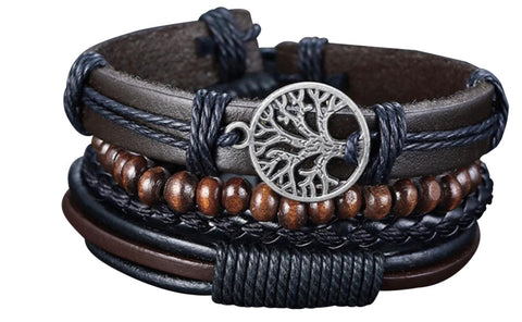4Pcs/ Set Braided Wrap Leather Bracelets for Men
