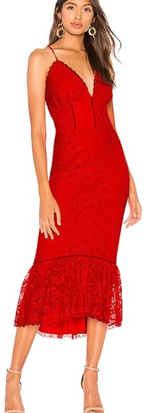 Red Evening Bloom Formal Dress