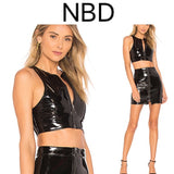 Midnight Blacl Faux Patent Leather Cat Top