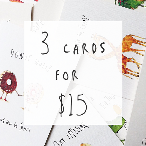 Bulk Bundle - 3 pack of any card - Well Drawn
