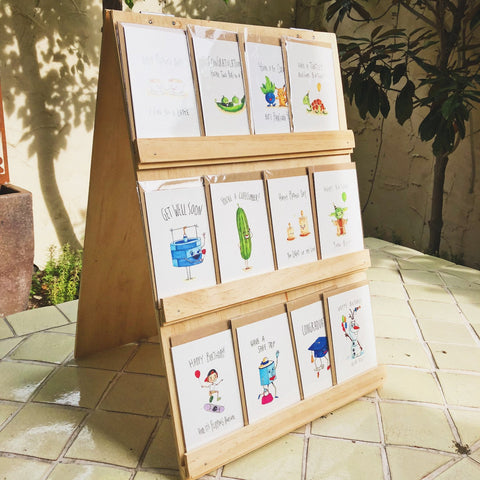 Wooden Card Stand - Light - 18 Cards - Well Drawn