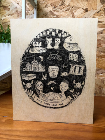 Hand-drawn Illustration on Wood - Well Drawn