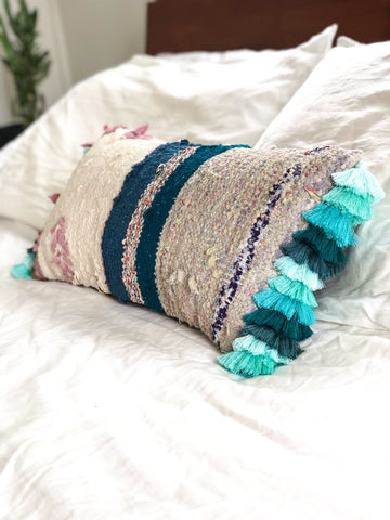 Kilim Cushion Dark Turquoise Tassel