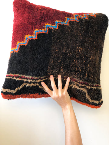 Berber Rug Cushion Dark Honey