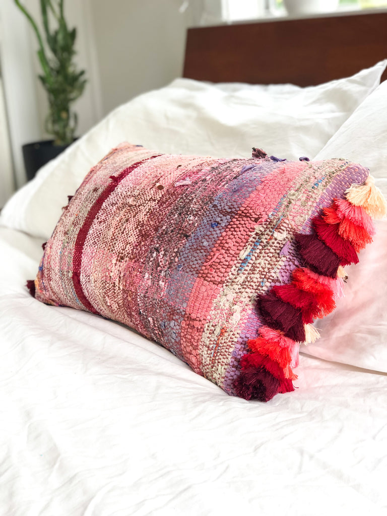 Kilim Cushion Raspberry Tassel