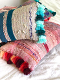 Kilim Cushion Light Turquoise Tassel