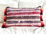 Kilim Cushion Stripe Raspberry Tassel