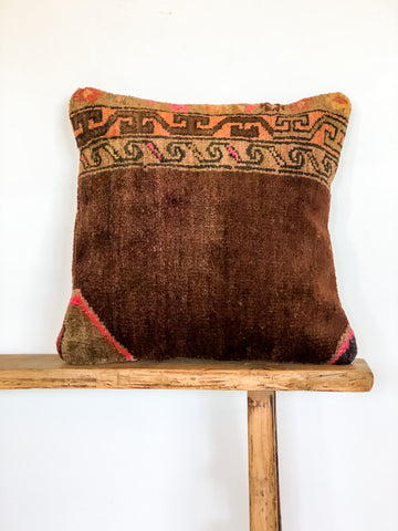 Berber Rug Cushion Walnut