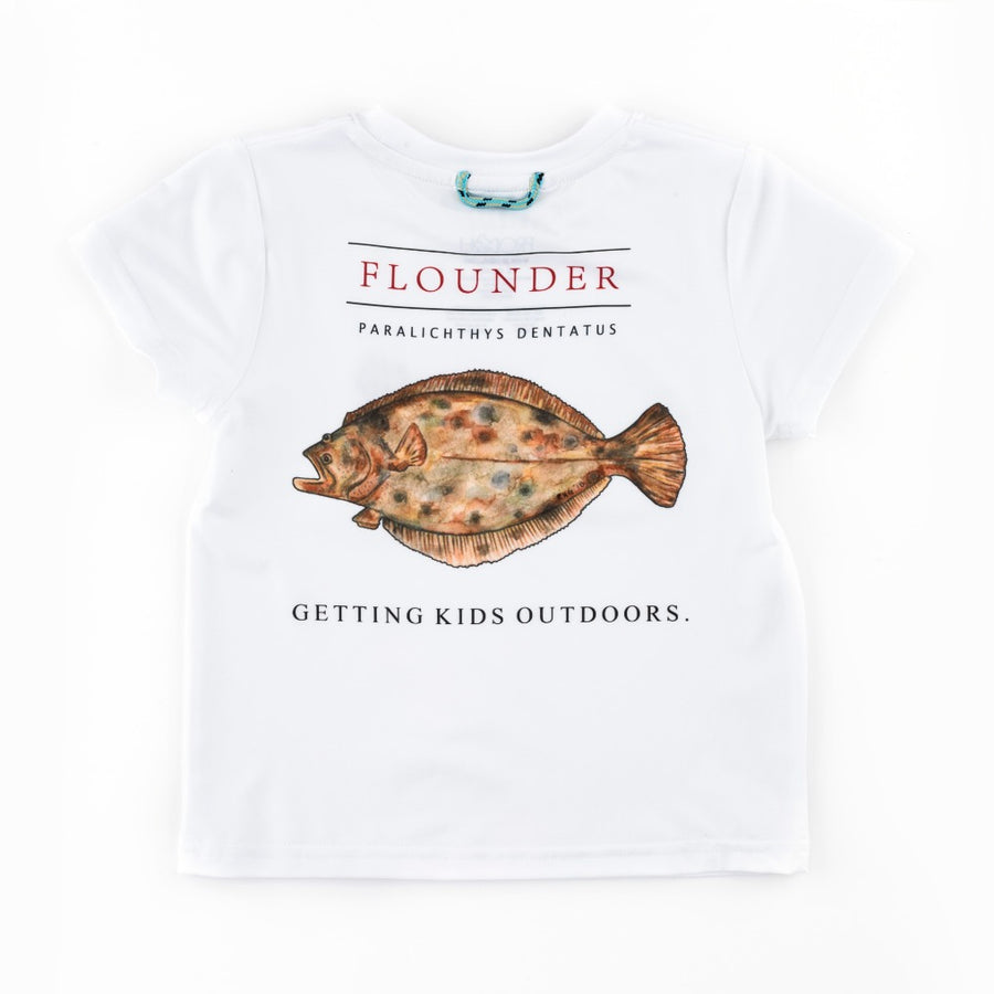Flounder Fish Performance Tee in White