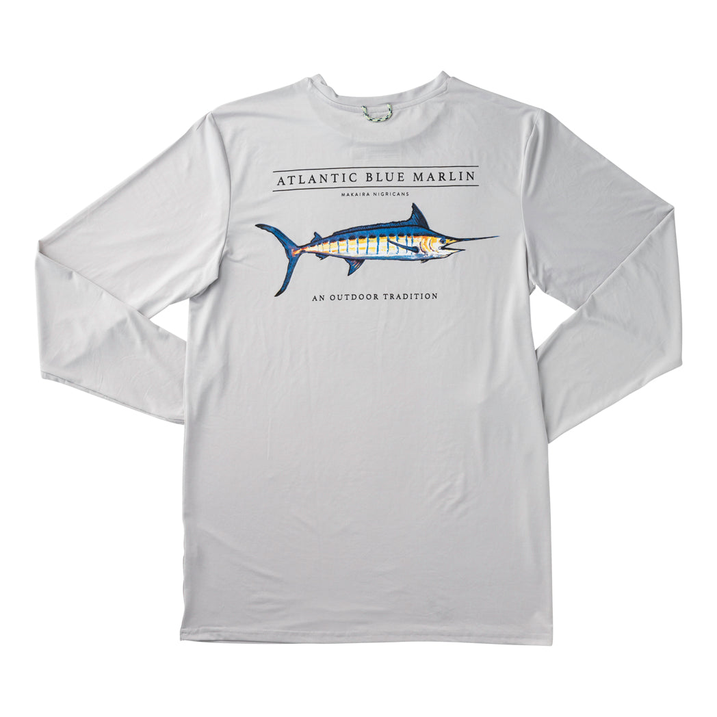 Men's Blue Marlin L/S Performance T-shirt in Quiet Gray