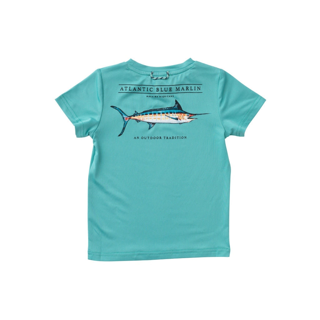 Jade performance tee. UPF 50+. Quick Dry. Wrinkle Resistant. Blue Marlin Fish on the back. Prodoh Logo on the front left chest.