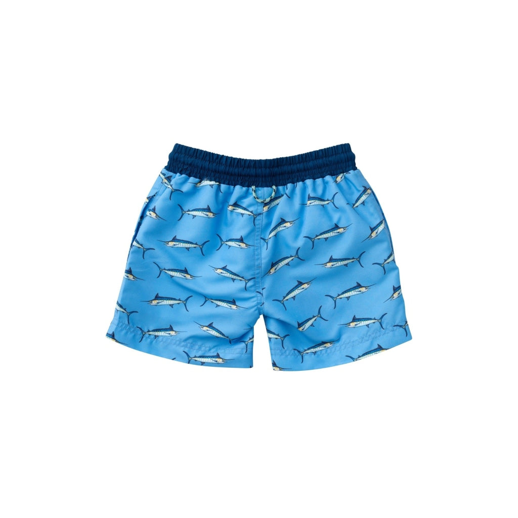 Blue Marlin Boy Swim Trunk. Navy waistband with string. Light Blue background with marlin fish print. Prodoh logo on the bottom left. UPF 50+. Quick Dry. Wrinkle Resistant.