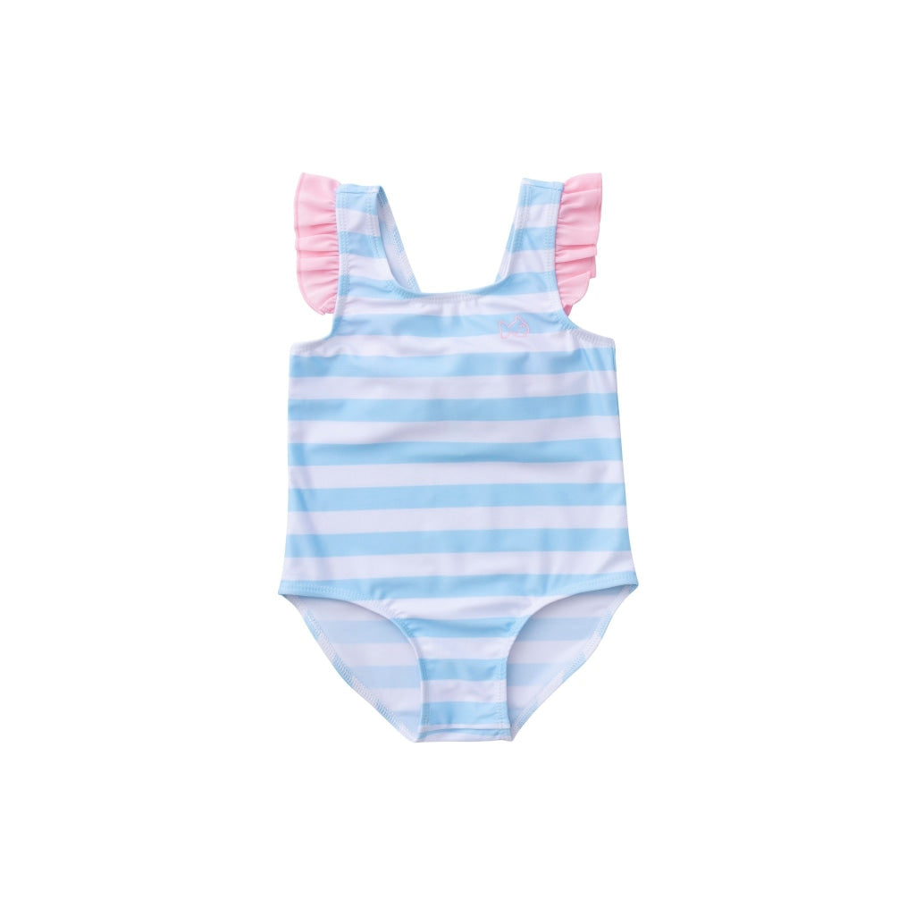 Bow Back Swimsuit In Arctic Stripe / 6 Month Swimwear