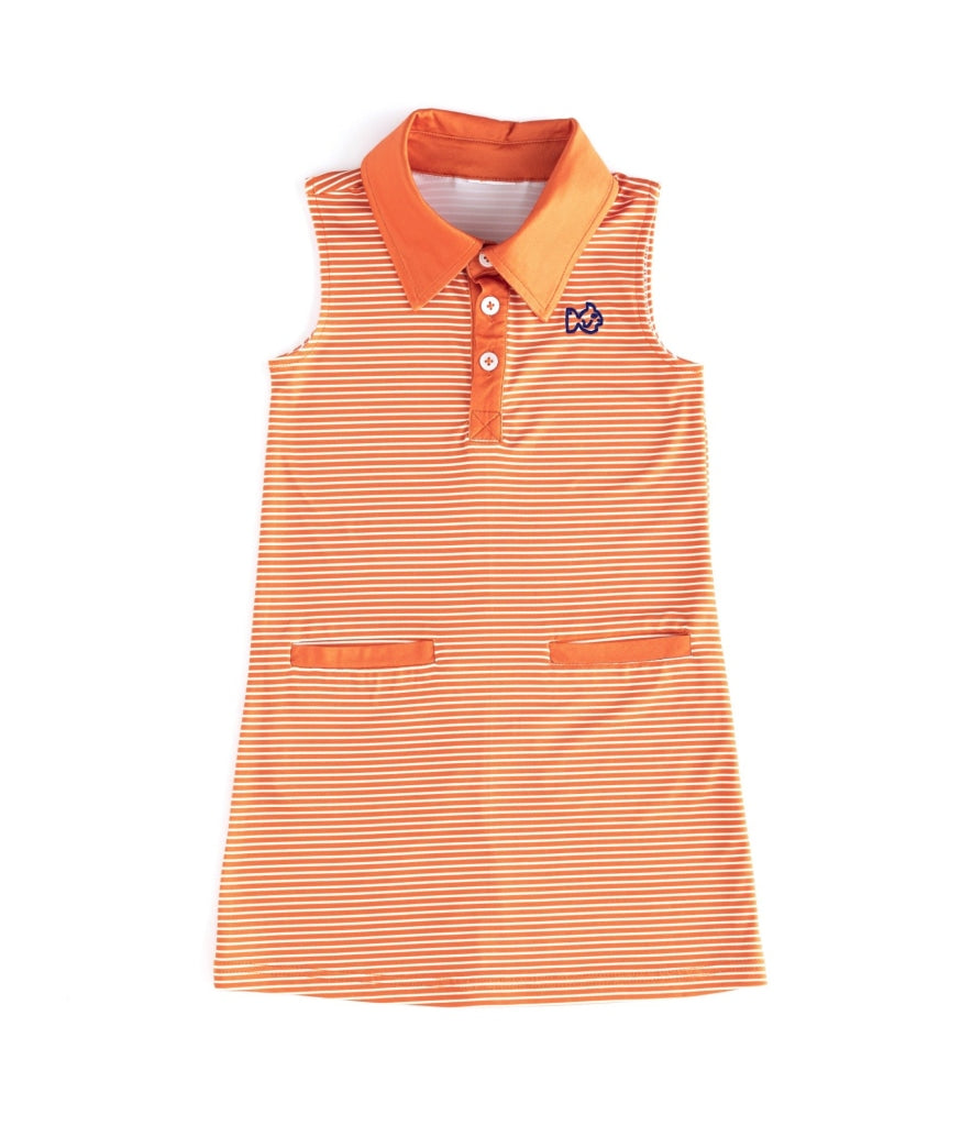 Gameday Dress/orange/navy Logo Russet Orange / Navy Embroidery 6 Month Dresses
