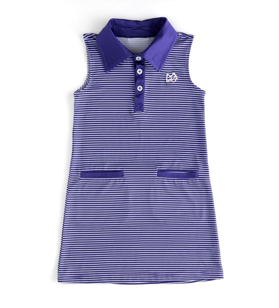 Gameday Dress/purple/white Logo Deep Blue / White Embroidery 6 Month Dresses