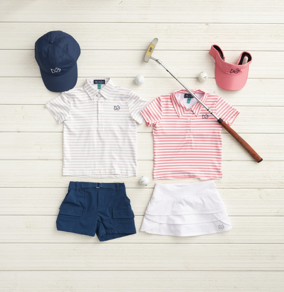 Pink and White striped girls polo. Golf Polo. Collared Shirt. UPF 50+. Quick Dry performance material. Wrinkle Resistant. Quarter button up. Short Sleeve. Prodoh logo left chest.