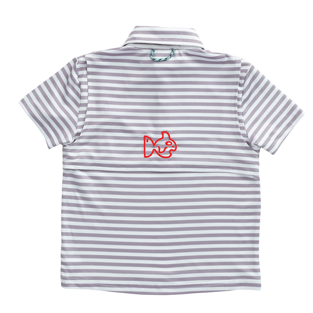 GAME Performance Polo in Gray Stripe/Red Embroidery