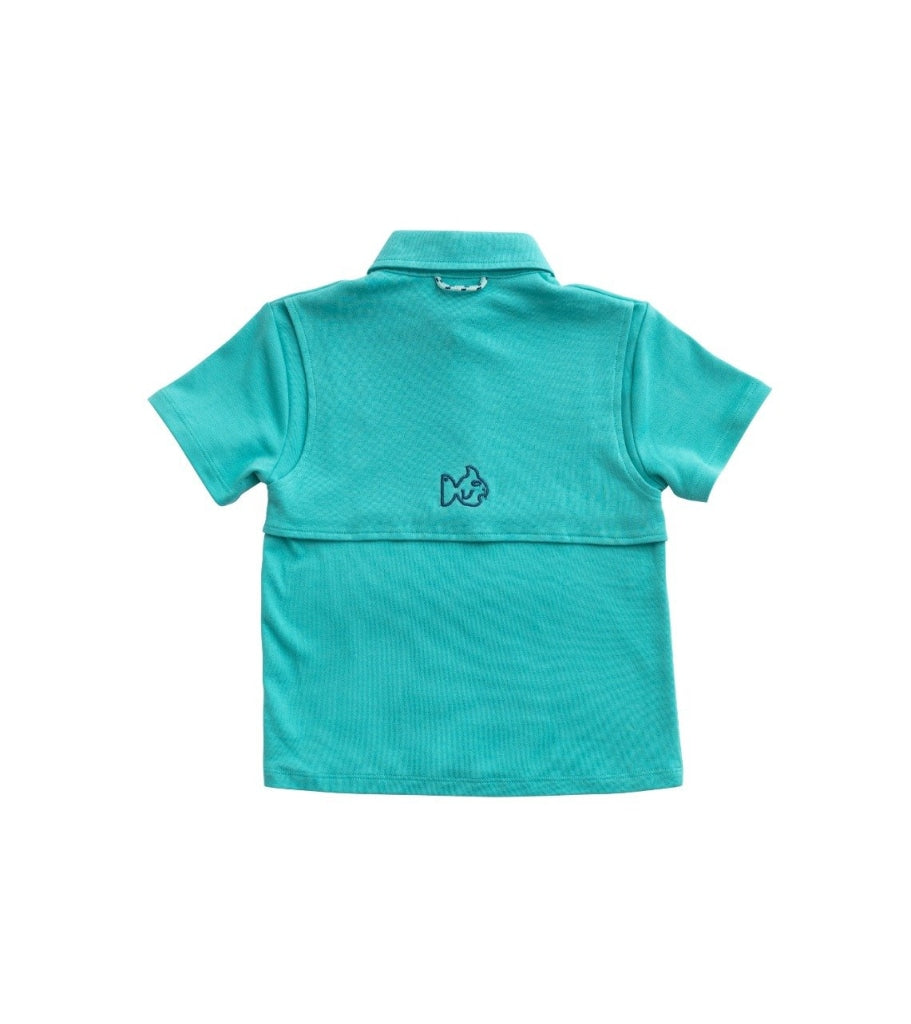 Knit Polo In Lagoon