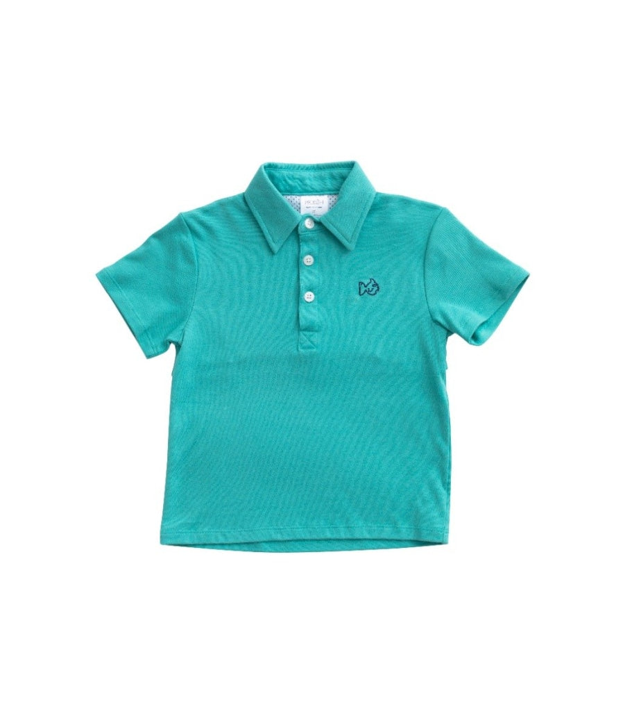 Knit Polo In Lagoon / 6 Month