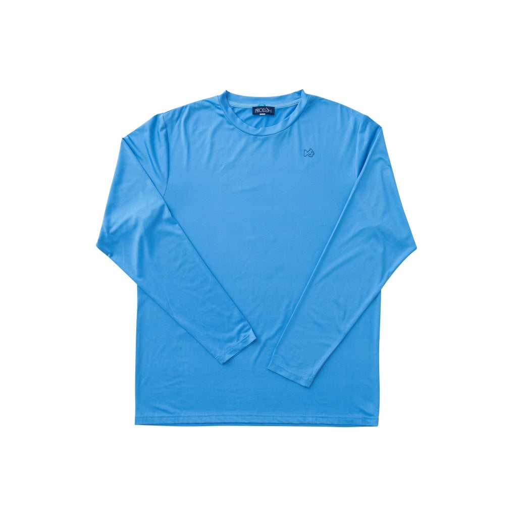 Men's performance shirt. Blue performance tee with blue marlin fish on back. Quick Dry. UPF 50+. Wrinkle Resistant.