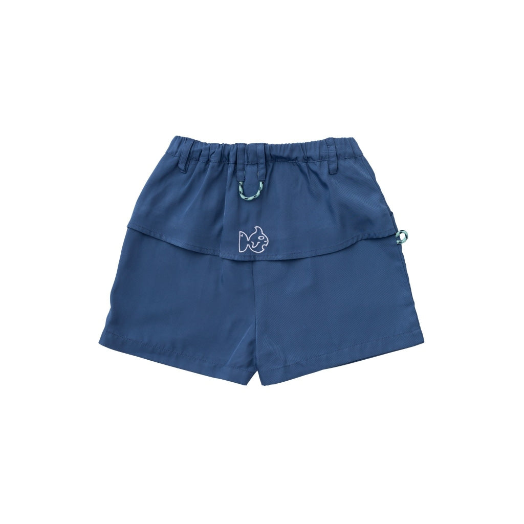 Navy Angler Shorts. Pockets on both sides. Elastic Waistband. UPF 50+. Wrinkle Resistant. Quick Dry. Vented back flap.