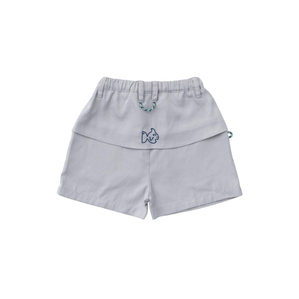 Gray Angler Shorts. Pockets on both sides. Elastic Waistband. UPF 50+. Wrinkle Resistant. Quick Dry. Vented back flap.