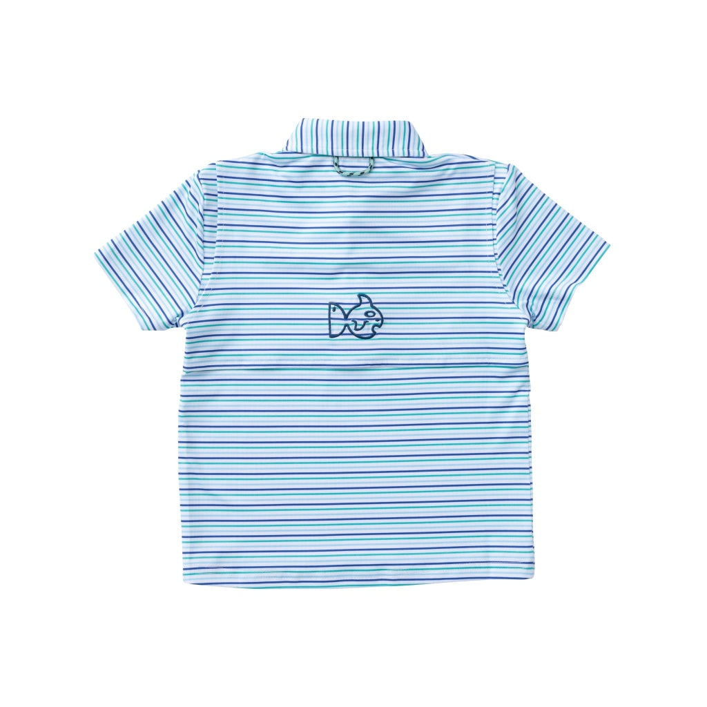 Jade, navy, light blue, and white striped polo. Quarter button up. Prodoh navy logo left chest. Short Sleeve. Performance fabric. UPF 50+. Quick Dry. Wrinkle Resistant. Vented back.