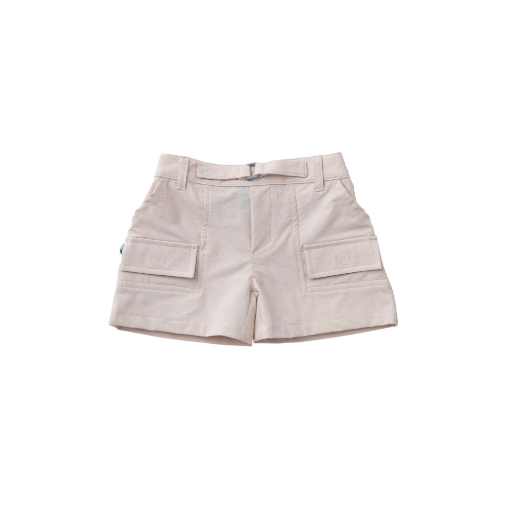 Khaki performance shorts. UPF 50+. Wrinkle resistant. Water resistant. Two pockets on the side. Adjustable waistband.