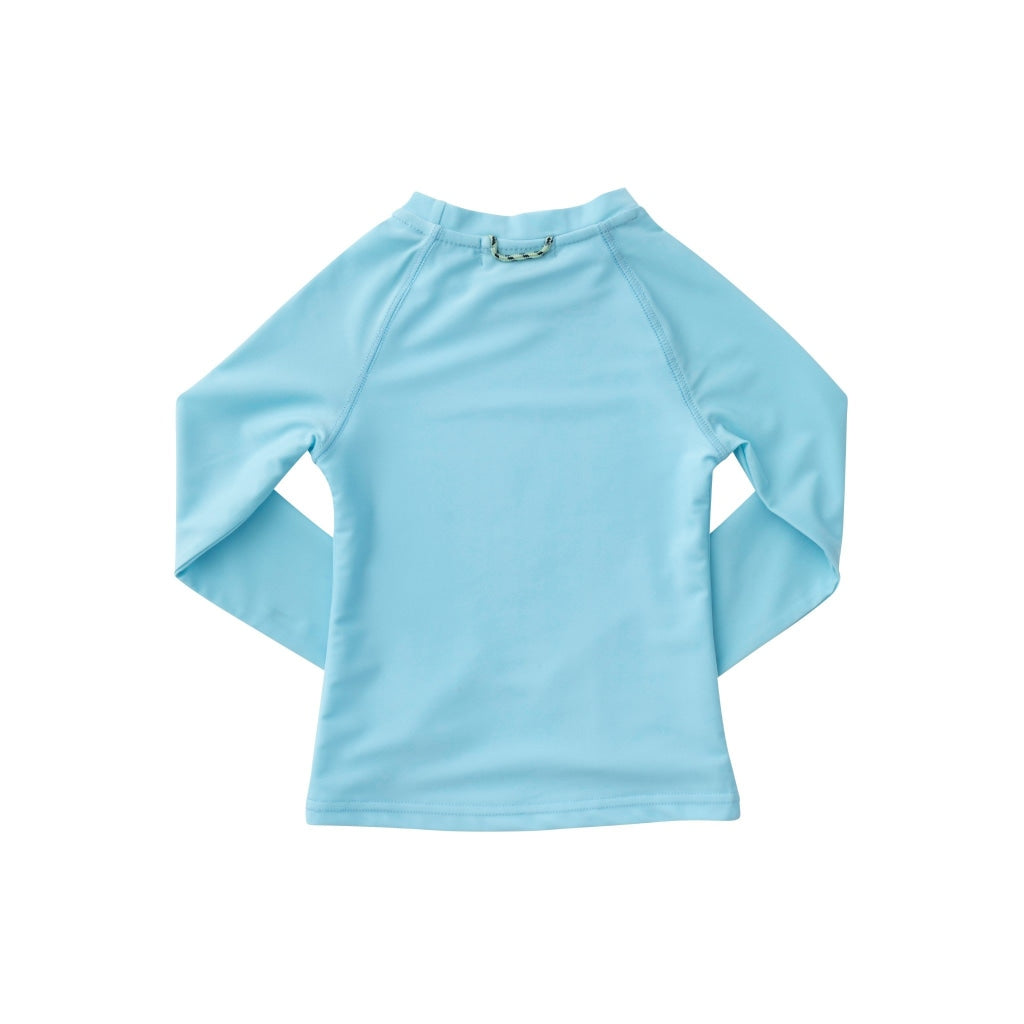 Light blue rash guard. UPF 50+. Water resistant. Wrinkle resistant. Long Sleeve. Navy prodoh fish top left.