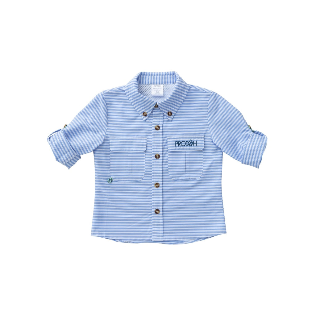Striped Fishing Shirt In Blue Light / 6 Month Shirts