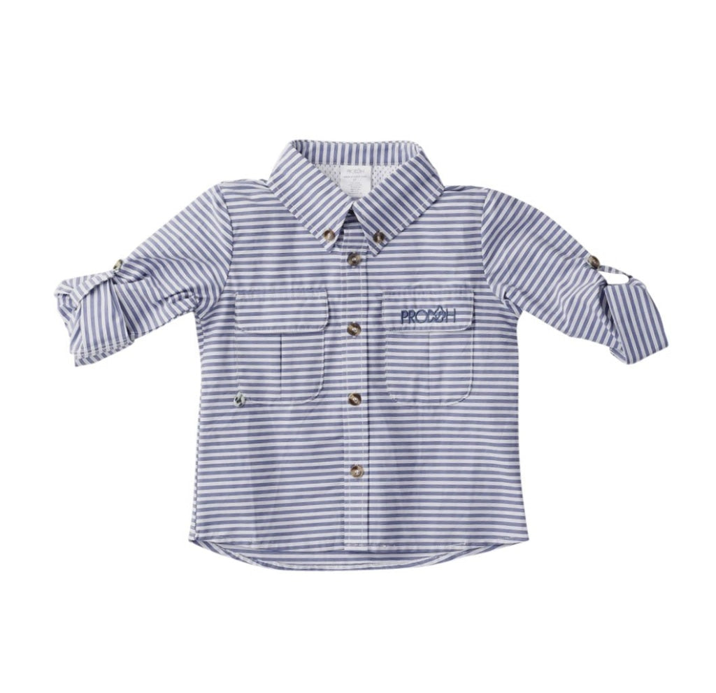 Striped Fishing Shirt In Coastline Blue / 6 Month Shirts