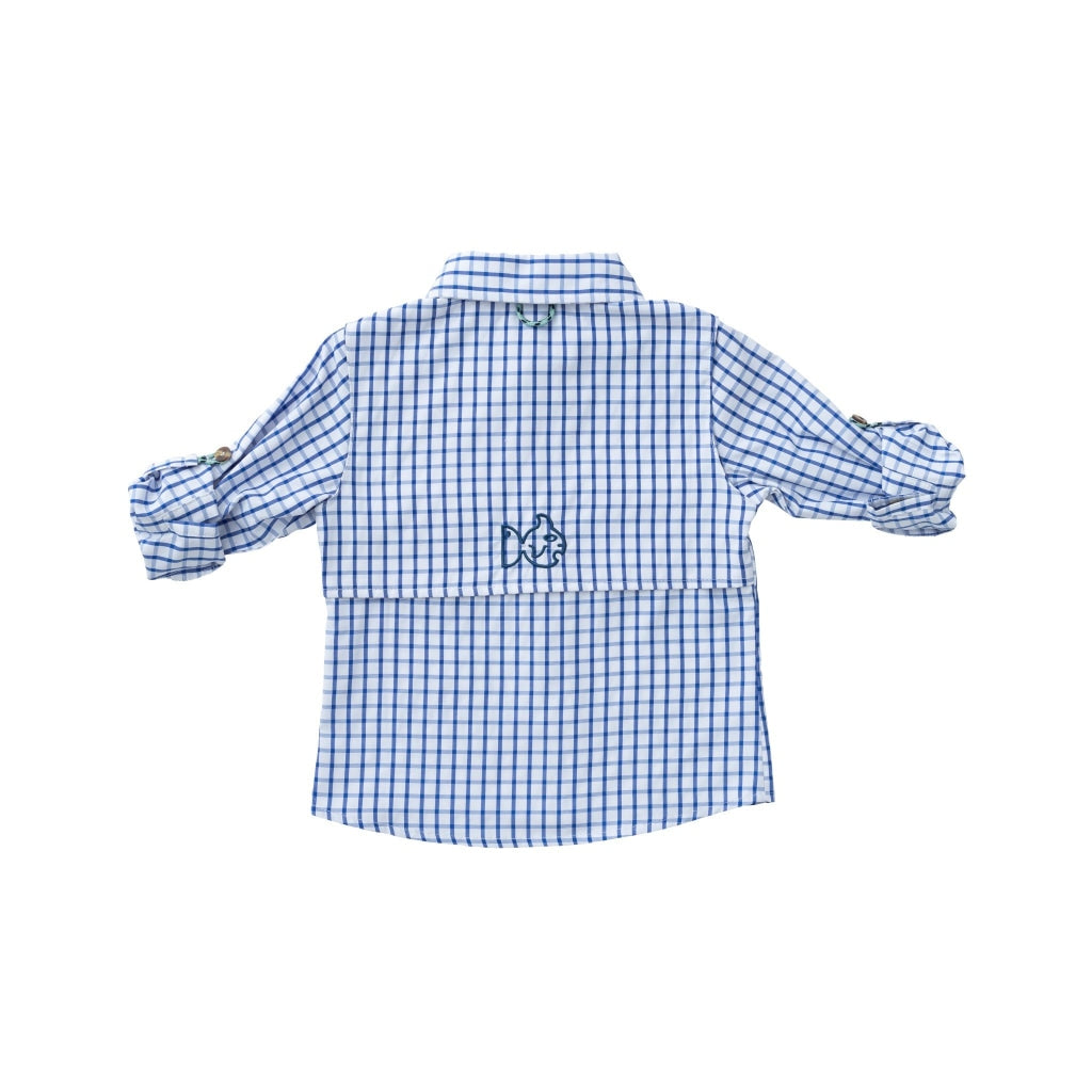 navy windowpane fishing shirt with chest pockets. UPF 50+ Polyester/Cotton/Spandex Blend Wrinkle and Stain Resistant Quick Dry Vented Back that keeps kids cool and dry