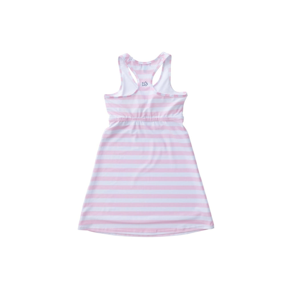Pink and White Striped Tennis Dress. Water Resistant. UPF 50+. Sleeveless. Razor back dress.