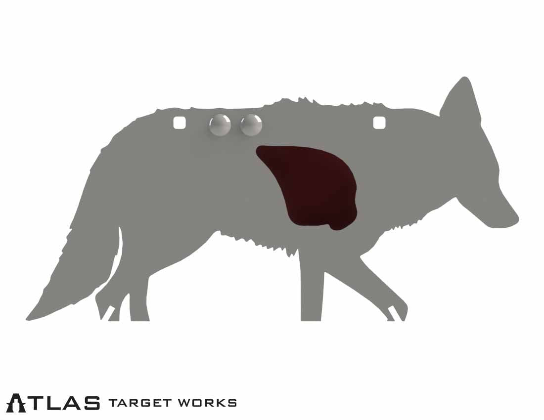 AR500 Coyote target with vital flapper down