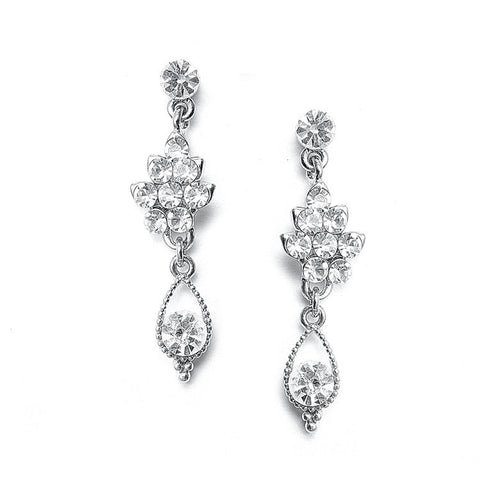Crystal Cluster Bridal Earrings
