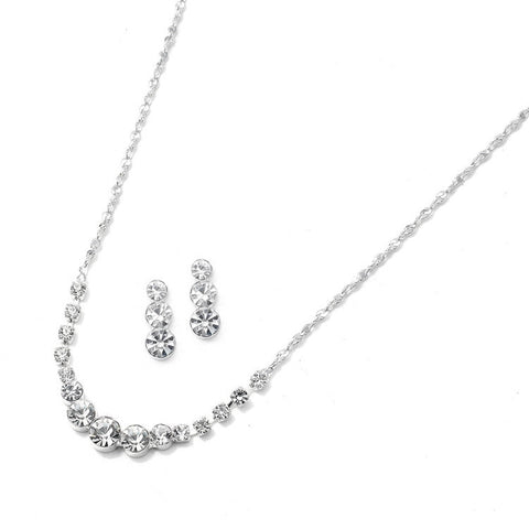 Dainty Crystal Rhinestone Bridesmaid or Prom Necklace Set
