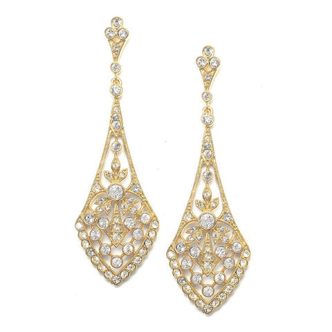 Dramatic Gold and Silver Vintage CZ Bridal Earrings