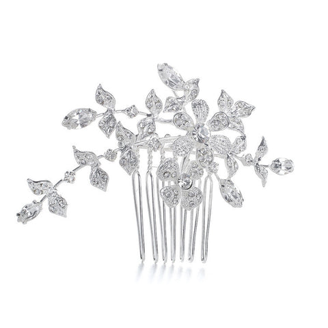 Wedding or Bridal Comb/Brooch with Crystal Garden