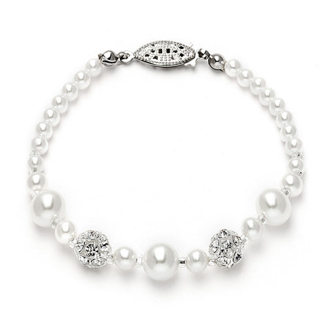 Bridal Bracelet with Pearls & Rhinestone Fireballs