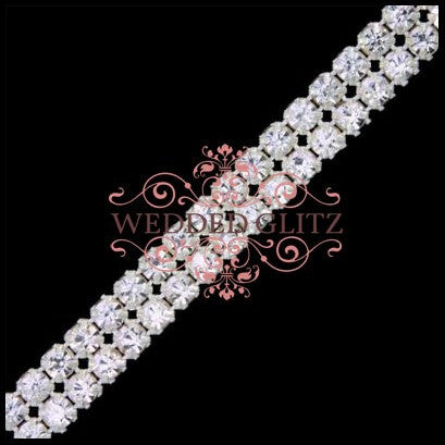 2 Row Crystal Banding (Crystal/Silver - Sold by the Foot)